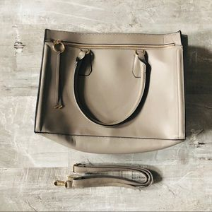Vegan Leather Style Tote/ Laptop Bag• Taupe